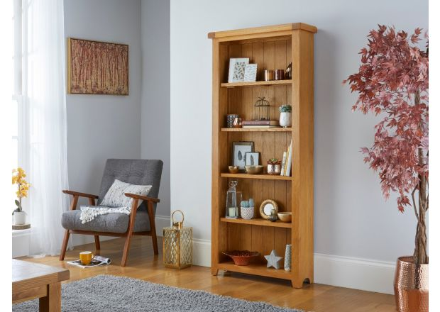 Country Oak Tall Bookcase with Shelves