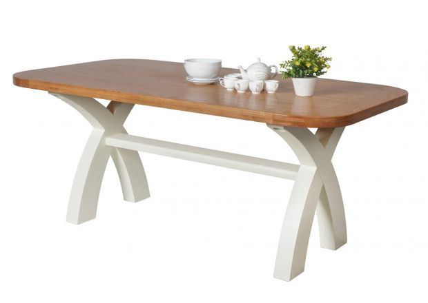 Country Oak 180cm Cream Painted Cross Leg Dining Table Oval Corners