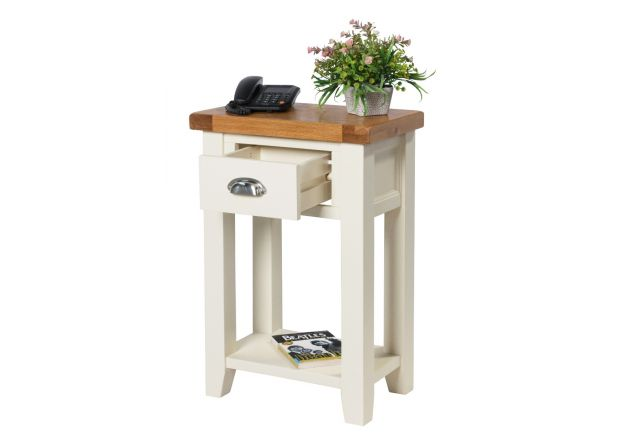 Country Cottage Cream Painted Oak Telephone Table
