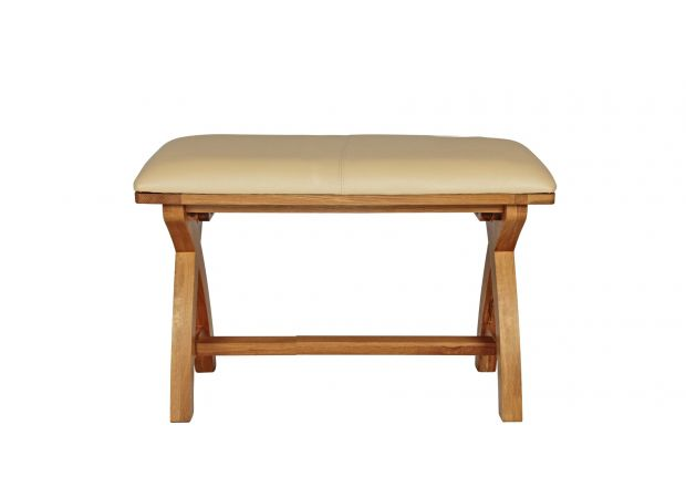 Country Oak 80cm Cream Leather X Leg Oak Bench - AUTUMN SALE