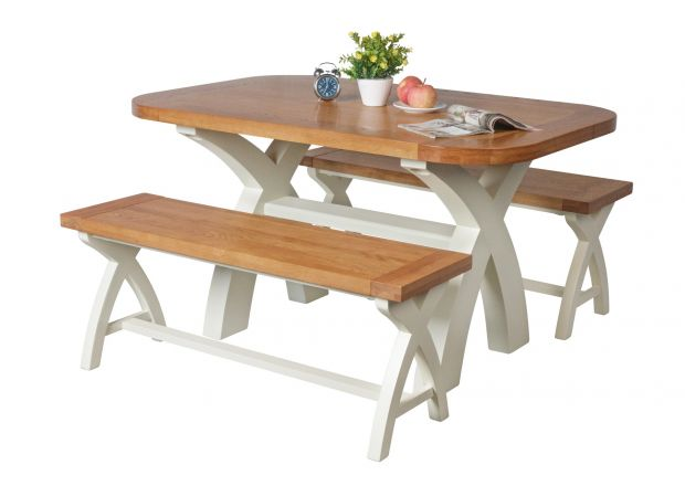 Country Oak 140cm cream painted dining table pair 120cm cross leg benches - BLACK FRIDAY SALE