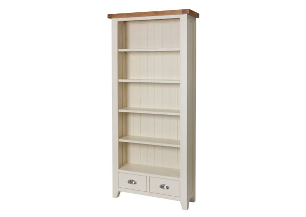 Country Cottage Cream Painted Tall Oak Bookcase with Drawers