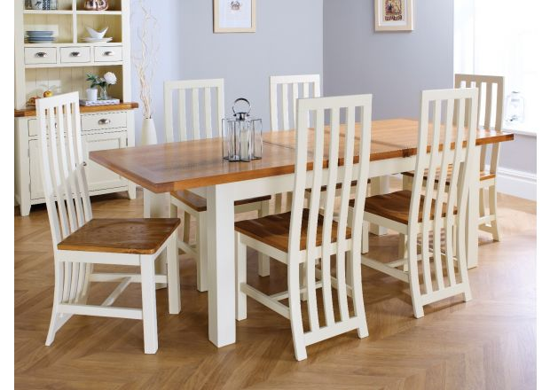 Country Oak 230cm Cream Painted Extending Dining Table and 6 Dorchester Cream Painted Chairs
