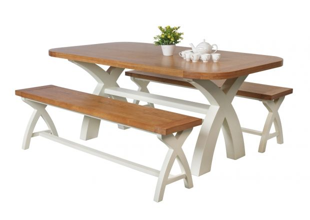 Country Oak 180cm cream painted dining table pair 160cm cross leg benches - SUMMER SALE