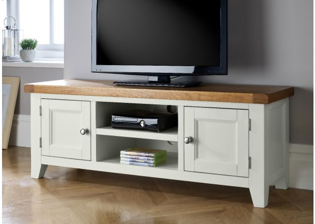 Country Cottage Putty Grey Painted Large Double Door Oak TV Unit