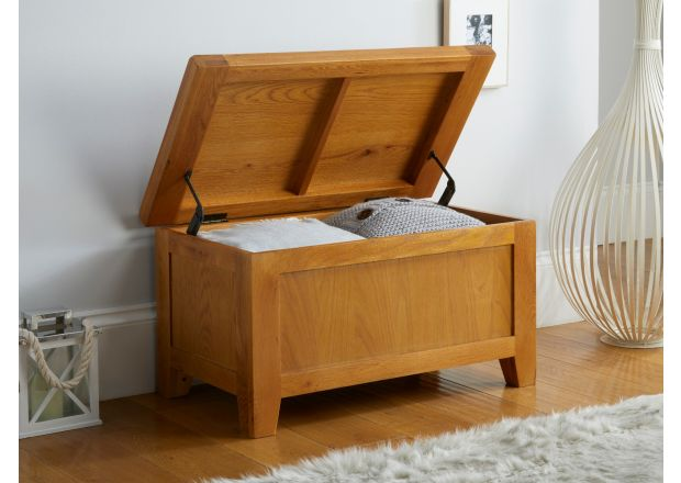 Country Oak Blanket Box Bedroom Storage