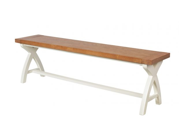 1.6m Cream Painted Cross Leg Oak Bench