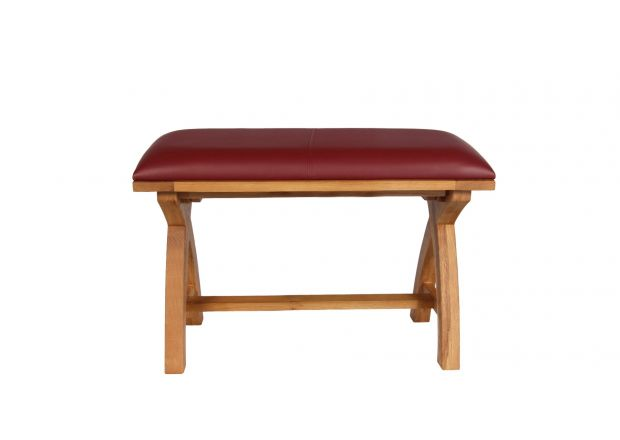 Country Oak 80cm Red Leather Cross Leg Dining Bench - AUTUMN SALE