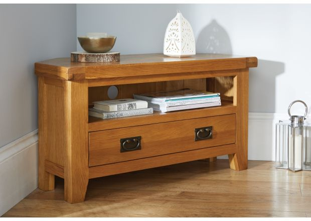 Country Oak Corner TV Unit with Drawer