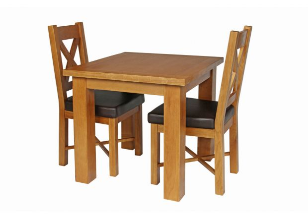 Country Oak 80cm Oak Table and 2 Grasmere Brown Leather Chair Set