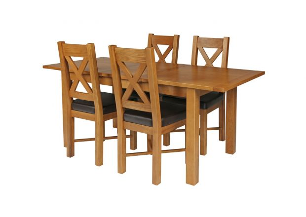 Country Oak 180cm Extending Oak Table and 4 Grasmere Brown Leather Seat Chair Set