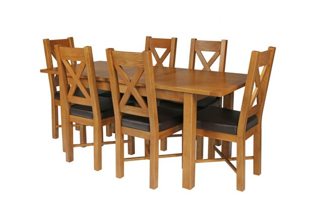 Country Oak 180cm Extending Oak Table and 6 Grasmere Brown Leather Seat Chair Set