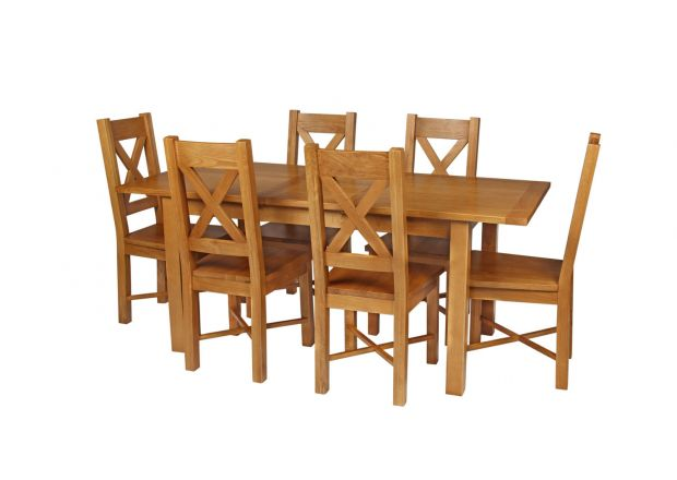 Country Oak 180cm Extending Oak Table and 6 Grasmere Timber Seat Chair Set