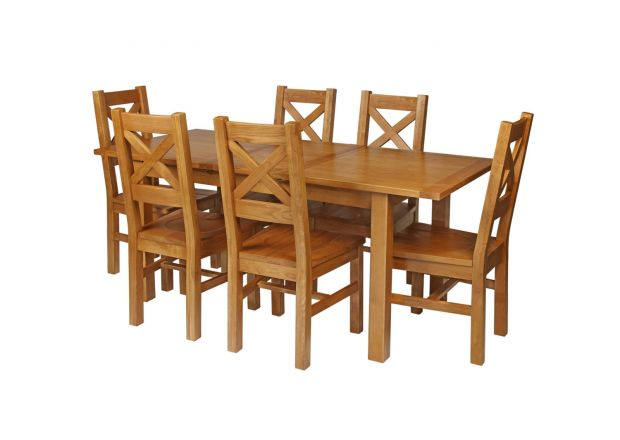 Country Oak 180cm Extending Oak Table and 6 Windermere Timber Seat Chair Set