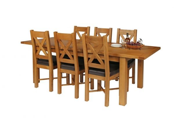 Country Oak 230cm Extending Oak Table and 6 Grasmere Brown Leather Seat Chair Set