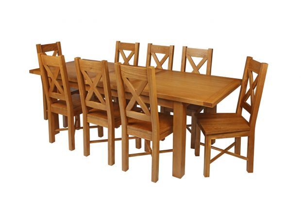 Country Oak 230cm Extending Oak Table and 8 Grasmere Timber Seat Chair Set