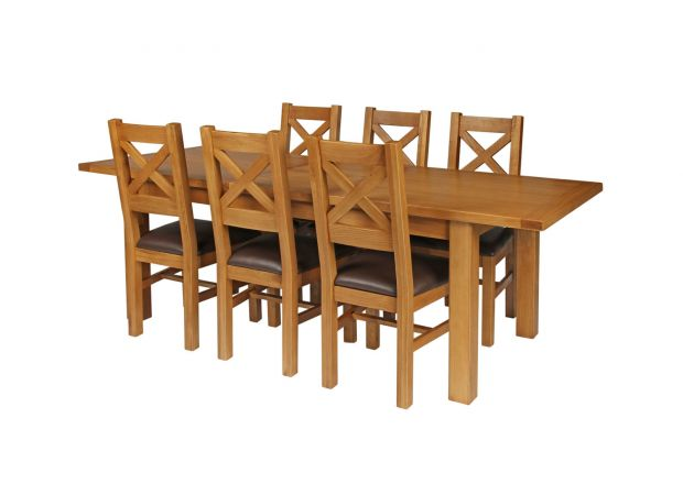Country Oak 230cm Extending Oak Table and 6 Windermere Brown Leather Seat Chair Set