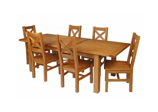 Country Oak 230cm Extending Oak Table and 6 Windermere Timber Seat Chair Set