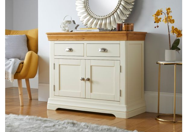 Farmhouse 100cm Cream Painted Oak Sideboard Hallway Storage