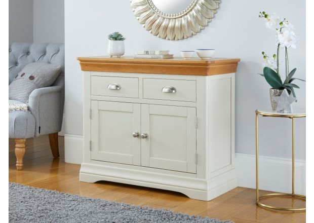 100cm Farmhouse Putty Grey Painted Small Oak Sideboard