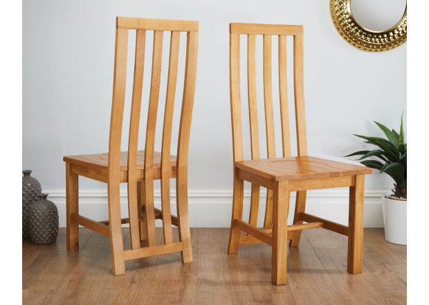 Dorchester Slatted Back Oak Dining Chair Timber Seat - WINTER SALE
