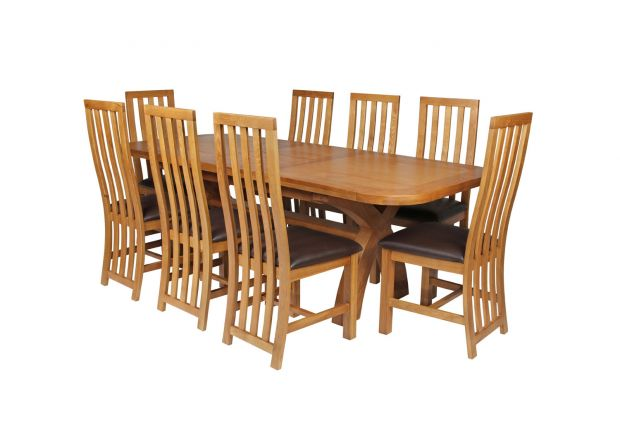 Country Oak 230cm Cross Leg Oval Table and 8 Dorchester Brown Leather Chairs
