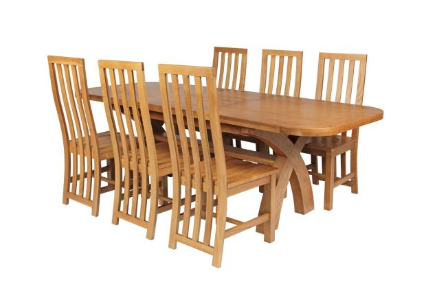 Country Oak 230cm Cross Leg Oval Table and 6 Dorchester Timber Seat Chairs