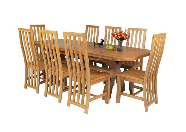 Country Oak 230cm Cross Leg Oval Table and 8 Dorchester Timber Seat Chairs