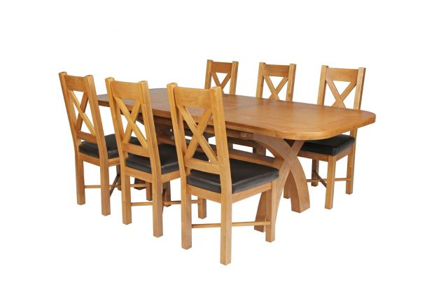 Country Oak 230cm Cross Leg Oval Table and 6 Grasmere Brown Leather Chairs