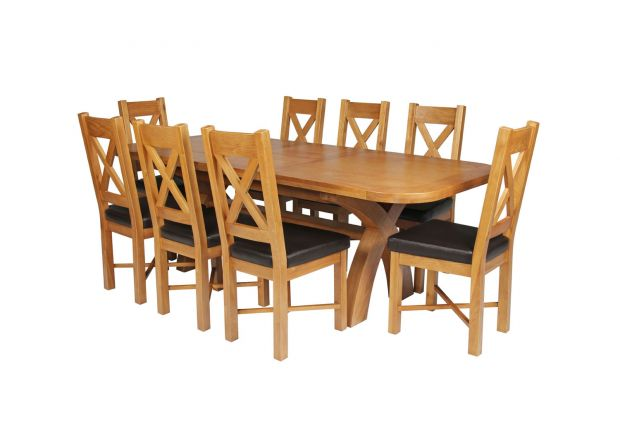 Country Oak 230cm Cross Leg Oval Table and 8 Grasmere Brown Leather Chairs