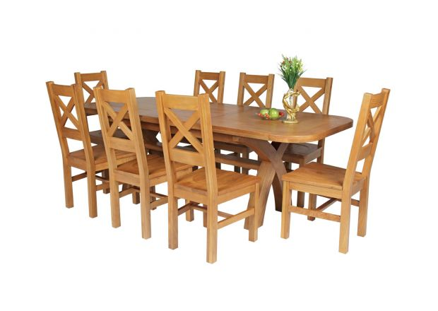 Country Oak 230cm Cross Leg Oval Table and 8 Windermere Timber Seat Chairs