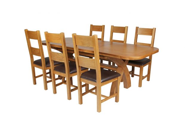 Country Oak 230cm Cross Leg Oval Table and 6 Chester Brown Leather Chairs
