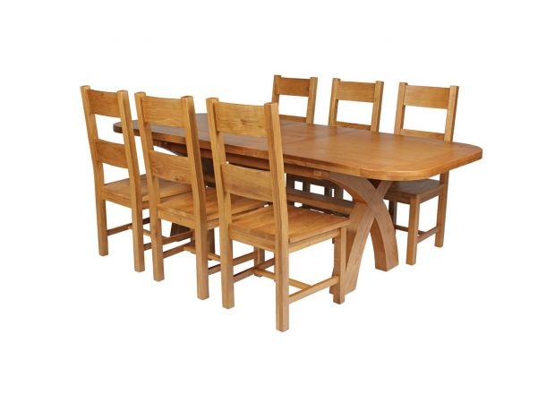 Country Oak 230cm Cross Leg Oval Table and 6 Chester Timber Seat Chair