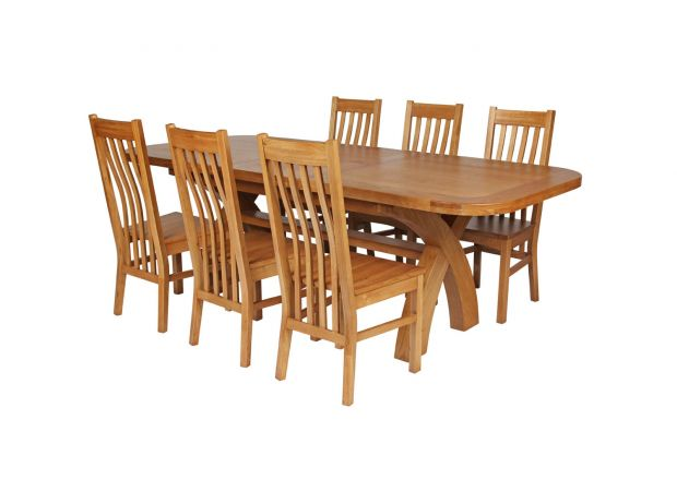 Country Oak 230cm Cross Leg Oval Table and 6 Chelsea Timber Seat Chairs