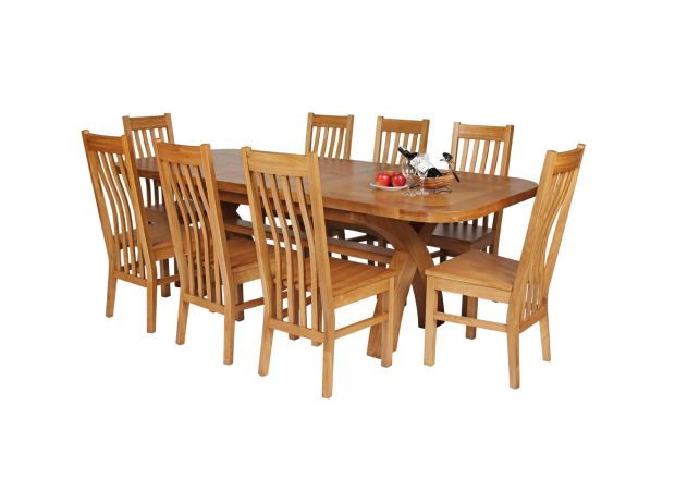 Country Oak 230cm Cross Leg Oval Table and 8 Chelsea Timber Seat Chairs