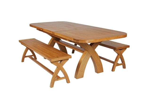 Country Oak 230cm Cross Leg Oval Table and 2 160cm Cross Leg Bench Set