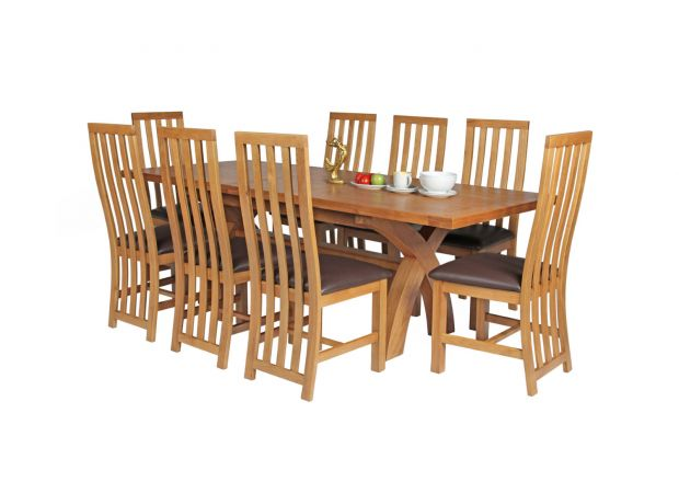 Country Oak 230cm Cross Leg Square Table and 8 Dorchester Brown Leather Chairs