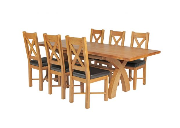 Country Oak 230cm Cross Leg Table and 6 Grasmere Brown Leather Chairs