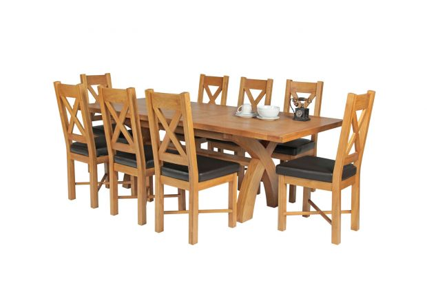 Country Oak 230cm Cross Leg Table and 8 Grasmere Brown Leather Chairs Set