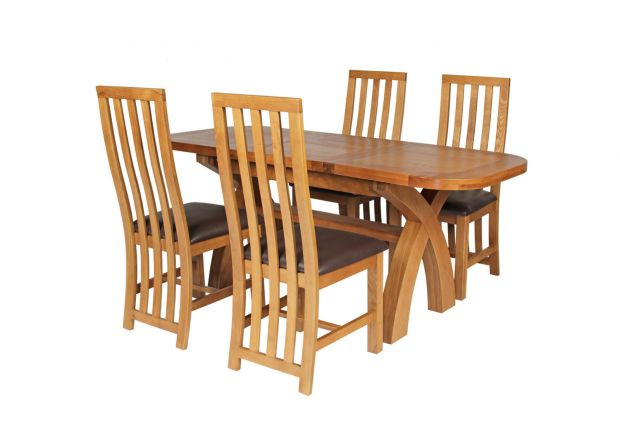 Country Oak 180cm Extending Cross Leg Oval Table and 4 Dorchester Brown Leather Chairs
