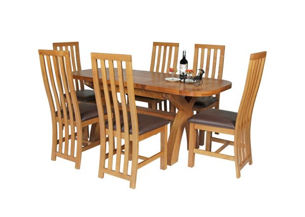 Country Oak 180cm Extending Cross Leg Oval Table and 6 Dorchester Brown Leather Chairs