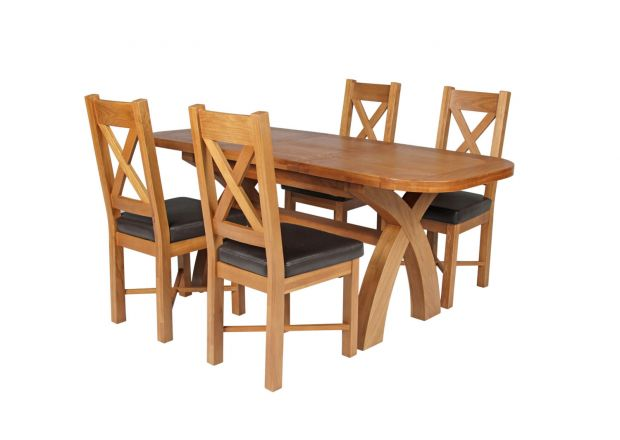 Country Oak 180cm Extending Cross Leg Rounded Corner Table and 4 Grasmere Brown Leather Chairs Set