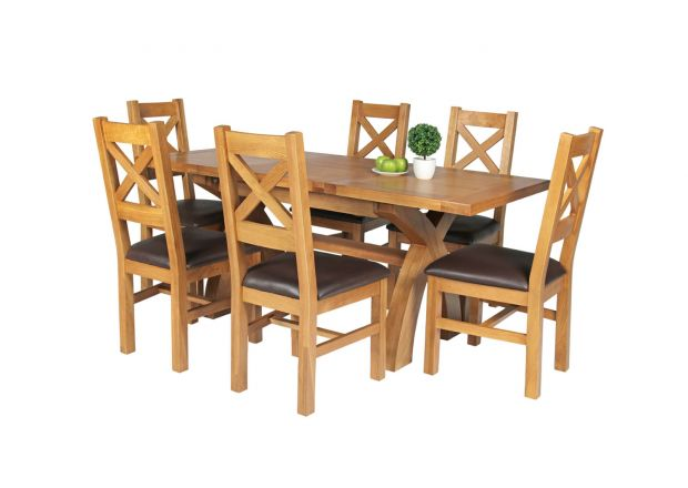 Country Oak 180cm Extending Cross Leg Square Table and 6 Windermere Brown Leather Chairs - SUMMER SALE