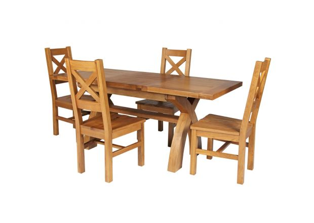 Country Oak 180cm Extending Cross Leg Square Table and 4 Windermere Timber Seat Chairs