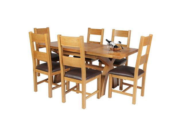 Country Oak 180cm Extending Cross Leg Square Table and 6 Chester Brown Leather Chairs