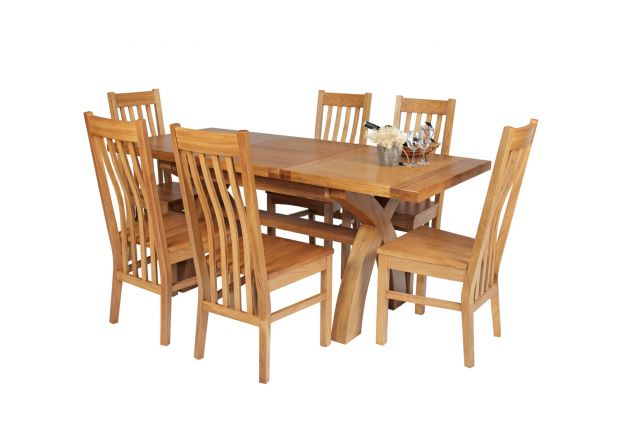 Country Oak 180cm Extending Cross Leg Square Table and 6 Chelsea Timber Seat Chairs