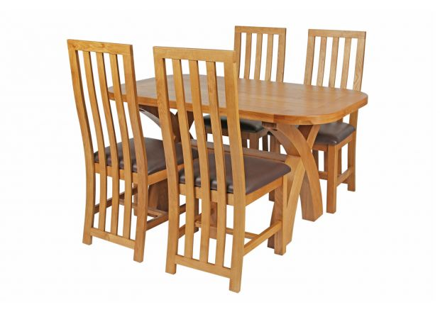 Country Oak 140cm Cross Leg Fixed Oval Table and 4 Dorchester Brown Leather Chairs
