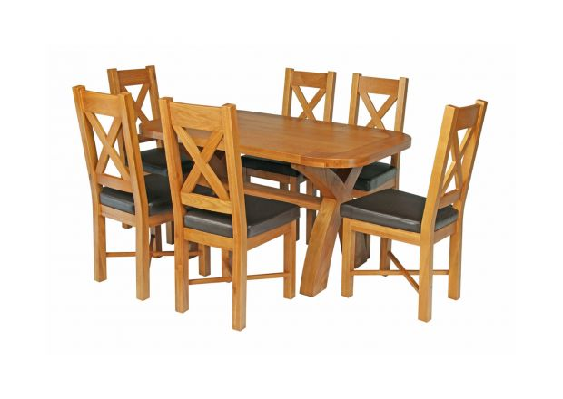 Country Oak 140cm Cross Leg Rounded Corner Table and 6 Grasmere Brown Leather Chairs Set