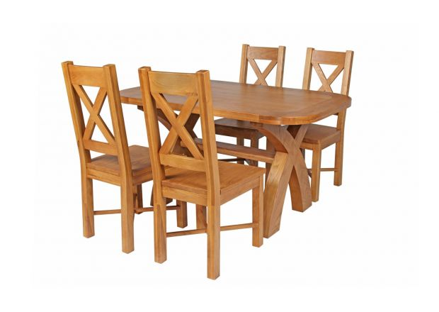 Country Oak 140cm Cross Leg Fixed Oval Table and 4 Grasmere Timber Seat Chairs