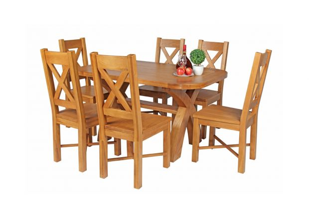 Country Oak 140cm Cross Leg Fixed Oval Table and 6 Grasmere Timber Seat Chairs